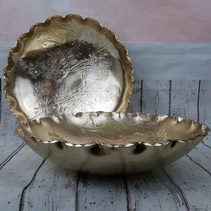 Vtg Arthur Armour Hammered Aluminum Goldtone Bowls